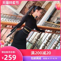 Dress Winter of 2019 Pre sale as shown S M L Middle-skirt 25-29 years old VJE W19VZ0877 30% and below polyester fiber Viscose (viscose) 51.1% polyester 29.1% polyamide (nylon) 19.8% Exclusive payment of tmall