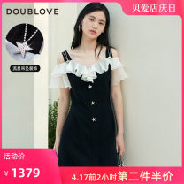 Dress Spring 2021 black 2/S 3/M 4/L 5/XL Middle-skirt singleton  Short sleeve Sweet V-neck middle-waisted Solid color other routine Others 25-29 years old Type X DOUBLE LOVE Lotus leaf edge DFGPA4216A More than 95% other polyester fiber Polyester 100% Ruili
