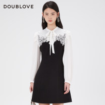 Dress Spring 2021 black 2/S 3/M 4/L 5/XL Middle-skirt singleton  Long sleeves Sweet other middle-waisted Solid color other other bishop sleeve Others 25-29 years old Type X DOUBLE LOVE Patchwork lace More than 95% other other Other 100% Ruili Same model in shopping mall (sold online and offline)