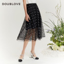 skirt Summer 2021 2/S 3/M 4/L 5/XL black Mid length dress Sweet High waist Fairy Dress Dot Type A 25-29 years old DFGPA3306A More than 95% DOUBLE LOVE other Lace Other 100% Same model in shopping mall (sold online and offline) Ruili
