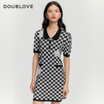 Dress Spring 2021 black 1/XS 2/S 3/M 4/L 5/XL 6/XXL Middle-skirt singleton  Short sleeve Sweet Polo collar middle-waisted lattice other other routine 25-29 years old Type H DOUBLE LOVE DPGPA9403A 30% and below knitting nylon Viscose fiber (viscose fiber) 75.2% polyamide fiber (polyamide fiber) 24.8%