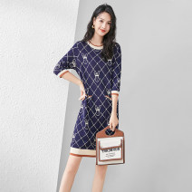 Dress Spring 2021 dark blue S,M,L,XL Middle-skirt Fake two pieces three quarter sleeve commute Crew neck Loose waist Solid color Socket A-line skirt other Type H Mapping / Mapin tm-m21154-0409 More than 95% knitting polyester fiber