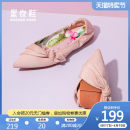 Low top shoes 35 36 37 38 39 Quicheshoes / roll shoes Green Black Pink Beige Sharp point Textile Flat bottom Low heel (1-3cm) Shallow mouth cloth Spring 2021 Trochanter Sweet Adhesive shoes Youth (18-40 years old) Solid color rubber Single shoes Shallow mouth leisure time EQS-2011-1