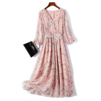 Dress Summer 2021 Picture color M L XL XXL longuette singleton  Long sleeves commute V-neck High waist Decor Socket A-line skirt routine 25-29 years old Type A Beautiful people printing LRLZ-322-03 More than 95% Chiffon polyester fiber Polyester 100%