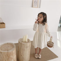 Dress white female Other / other 90cm,100cm,110cm,120cm,130cm,140cm Cotton 90% other 10% spring and autumn Korean version cotton A-line skirt Class B 18 months, 2 years old, 3 years old, 4 years old, 5 years old, 6 years old, 7 years old, 8 years old