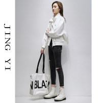short coat Spring 2021 M L XL Black white blue gray Long sleeves have cash less than that is registered in the accounts Thin money singleton  Straight cylinder other stand collar zipper Solid color Jingyi 96% and above JY21A00069 other Other 100% Pure e-commerce (online only)
