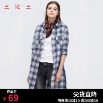 Dress Spring 2021 red-checkered pattern S, M Middle-skirt singleton  Long sleeves commute Polo collar middle-waisted lattice Single breasted other routine Others 18-24 years old Type H 3:3 Korean version D3F9L02 More than 95% cotton