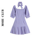 Dress Summer 2021 violet M,L,XL Short skirt singleton  Short sleeve commute square neck High waist lattice Socket Ruffle Skirt puff sleeve Others Type A Korean version Splicing 30% and below other other