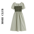 Dress Summer 2021 Apricot, green S,M,L Mid length dress singleton  Short sleeve commute square neck High waist other Socket A-line skirt puff sleeve Others Type A Retro fold 30% and below other other