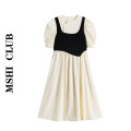 Dress Summer 2020 [short sleeve version] apricot, apricot [long sleeve version] S,M,L,XL Mid length dress singleton  Short sleeve commute Crew neck High waist Solid color A-line skirt puff sleeve Others Type H Retro 30% and below
