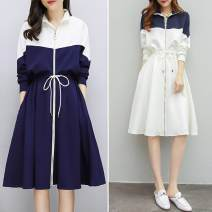Dress Autumn of 2019 Short skirt other Long sleeves Sweet Crew neck Elastic waist zipper other routine Others 18-24 years old 30% and below Chiffon other