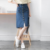 skirt Spring 2021 Blue Mid length dress commute High waist Denim skirt Solid color Type A 18-24 years old 91% (inclusive) - 95% (inclusive) Orange bear cotton Pocket, button Retro