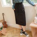 skirt Winter 2020 S,M,L,XL,2L,3L Black, deep purple longuette Solid color 25-29 years old KG1002 Orange bear