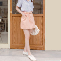 skirt CA2324 Summer 2021 Short skirt Natural waist A-line skirt Solid color More than 95% cotton Type A 18-24 years old Orange bear S,M,L,XL,2L,3L,4L Black, white, salmon meal, dark blue, khaki apricot, army green