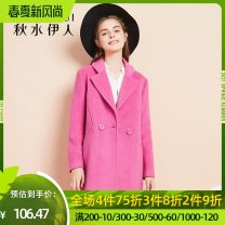 woolen coat Winter of 2019 S M L XL Plum blossom polyester 71% (inclusive) - 80% (inclusive) Medium length Long sleeves routine tailored collar Straight cylinder 56411AC122049 thinking of an old acquaintance on seeing a familiar scene 25-29 years old Polyester 77.6% wool 22.4%