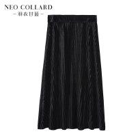 skirt Spring of 2019 M/160 L/165 XL/170 longuette Versatile Natural waist Pleated skirt Type A 40-49 years old 91% (inclusive) - 95% (inclusive) Kale polyester fiber Polyester 92.9% polyurethane elastic fiber (spandex) 7.1%