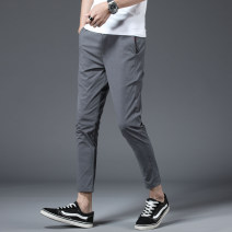 Casual pants Others Youth fashion Grey, black, green M,L,XL,2XL thin Ninth pants Other leisure Self cultivation Micro bomb summer youth Exquisite Korean style 2019 middle-waisted Straight cylinder Low crotch straddle pants other No iron treatment Solid color Khaki hemp hemp Fashion brand