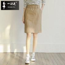 skirt Summer of 2019 S M L XL XXL Black Khaki Middle-skirt commute High waist High waist skirt Solid color Type A B-3424 More than 95% One stop cotton pocket Korean version Cotton 97% polyurethane elastic fiber (spandex) 3% Pure e-commerce (online only)