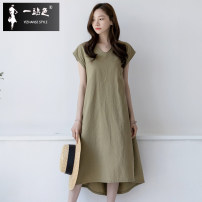 Dress Summer 2020 Black light grey Khaki S M L XL longuette singleton  Short sleeve commute V-neck Loose waist Solid color Socket A-line skirt 25-29 years old One stop pocket L-9417 51% (inclusive) - 70% (inclusive) hemp Flax 55% cotton 45% Pure e-commerce (online only)