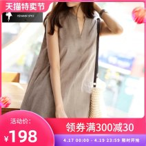 Dress Summer of 2018 Black Khaki XS S M L XL XXL Mid length dress singleton  Sleeveless commute V-neck Loose waist Solid color Socket A-line skirt routine 30-34 years old One stop literature More than 95% hemp Flax 100% Pure e-commerce (online only)