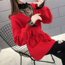 sweater Winter of 2019 S M L XL White yellow green red dark blue black Long sleeves Socket singleton  Regular other 95% and above V-neck thickening routine other Straight cylinder Regular wool Keep warm and warm Shebetsy J14130 Lacing splice thread Other 100% Exclusive payment of tmall