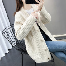 Wool knitwear Autumn of 2019 S M L XL Long sleeves singleton  Cardigan other More than 95% Regular routine commute easy routine Solid color Single breasted Korean version 25-29 years old Shebetsy Pocket screw button Other 100%