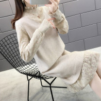 sweater Winter of 2019 S M L XL Long sleeves Socket singleton  Medium length other 95% and above High collar Regular routine Solid color Straight cylinder Regular wool Keep warm and warm Shebetsy Splicing thread Other 100% Exclusive payment of tmall
