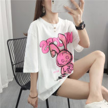T-shirt White black S M L XL Summer 2021 elbow sleeve Crew neck easy Regular routine commute other 96% and above Korean version other Plants and flowers Shebetsy X5500 Other 100% Pure e-commerce (online only)