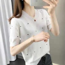 T-shirt White black S M L XL Spring 2020 Short sleeve V-neck Straight cylinder Regular routine commute other 96% and above Korean version youth Wave point Shebetsy Other 100% Exclusive payment of tmall