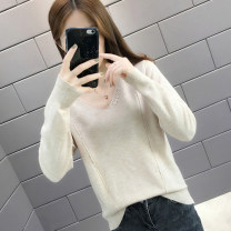 sweater Winter of 2019 S M L XL Black green off white coffee Pink Long sleeves Socket singleton  Regular other 95% and above V-neck Regular routine Solid color Straight cylinder Regular wool Keep warm and warm Shebetsy T11712 Stitched thread button Other 100% Exclusive payment of tmall