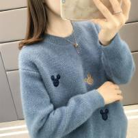 sweater Autumn of 2019 S M L XL Long sleeves Socket singleton  Regular other 95% and above Crew neck Regular routine Solid color Straight cylinder Regular wool Keep warm and warm 25-29 years old Shebetsy Embroidery thread Other 100% Pure e-commerce (online only)