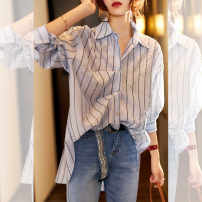 Women's large Spring 2021 Temperament blue M. Large L, large XL shirt singleton  commute Straight cylinder Cardigan Long sleeves Polo collar routine routine R11713999033 RAGR Button 81% (inclusive) - 90% (inclusive)
