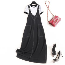 Dress Summer 2021 Black + white S. M, l, XL, XXL longuette Two piece set Short sleeve commute Crew neck High waist Solid color Socket A-line skirt routine straps 25-29 years old lady pocket More than 95% Chiffon other