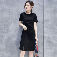 Dress Summer 2021 Black dark grey S M L XL XXL Middle-skirt singleton  Short sleeve Crew neck middle-waisted Solid color Socket A-line skirt routine Others 25-29 years old Type X Eiyiloves Pleating 91% (inclusive) - 95% (inclusive) other cotton Cotton 94% polyurethane elastic fiber (spandex) 6%