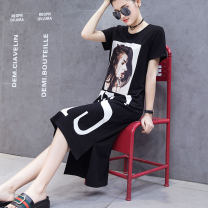 Dress Summer of 2018 black S M L XL XXL longuette singleton  Short sleeve street Crew neck Loose waist character Socket other routine Others 30-34 years old T-type Eiyiloves Pasted printing X8931 91% (inclusive) - 95% (inclusive) other cotton Cotton 94% polyurethane elastic fiber (spandex) 6%