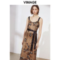 Dress Spring of 2019 Black 20 S M L XL Mid length dress singleton  Sleeveless commute V-neck High waist Big flower Socket other 25-29 years old Type A Vimage / Weiman period literature Embroidered lace V1107704 More than 95% polyester fiber Polyester 100%