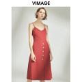 Dress Autumn of 2019 Shanhong 65 S M L XL Mid length dress singleton  Sleeveless commute V-neck High waist Solid color Socket other camisole 25-29 years old Type A Vimage / Weiman period Britain Pleated button More than 95% polyester fiber Polyester 96.7% polyurethane elastic fiber (spandex) 3.3%