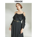 Dress Autumn of 2019 Black 20m porcelain 71 S M L XL longuette singleton  Long sleeves commute High waist Solid color Socket Irregular skirt other camisole 25-29 years old Type A Vimage / Weiman period Britain Lotus leaf edge V1207806 More than 95% polyester fiber Polyester 100%