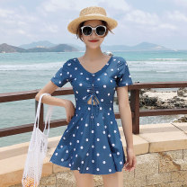 one piece  Yuke M L XL 2XL 3XL Deep sea blue Collection Plus priority delivery Skirt one piece With chest pad without steel support Spandex others Spring of 2019 no female Short sleeve Casual swimsuit Wave point