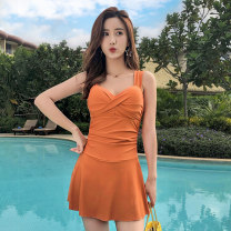 one piece  Yuke One piece flat corner swimsuit Steel strap breast pad Spandex others Winter of 2018 no female Sleeveless Casual swimsuit Solid color backless