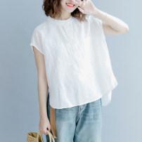 shirt White, Khaki Average size Summer of 2018 hemp 31% (inclusive) - 50% (inclusive) Sleeveless commute Regular Crew neck Socket Solid color Self cultivation literature