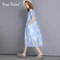 Dress Summer of 2018 Iceland blue (send l code Q within 15 days after payment) Average (m) l Mid length dress Two piece set Short sleeve commute Decor