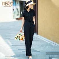 Casual pants black S M L XL Spring 2020 trousers Jumpsuit High waist 96% and above Four inches / 4 inches Button Cotton 100% Pure e-commerce (online only)