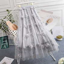 skirt Spring 2021 One size fits all (elastic waist 85-125kg) Black blue grey Mid length dress commute High waist A-line skirt Solid color Type A SP0705 Cola clothes Gauze Korean version Exclusive payment of tmall