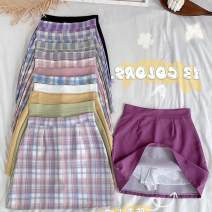 skirt Summer 2020 S,M,L Purple color bar, blue color bar, pink color bar, green grid, pink grid, blue grid, purple grid, pure black, pure white, pure purple, pure yellow, pure green, pure pink Short skirt Sweet High waist A-line skirt lattice Type A 18-24 years old A80860070 30% and below other other