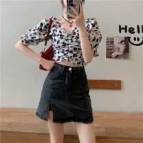 skirt Buttons, zippers, pockets Summer 2021 Short skirt 31% (inclusive) - 50% (inclusive) High waist skirt commute Solid color 18-24 years old Type A Korean version S,M,L,XL Blue, black