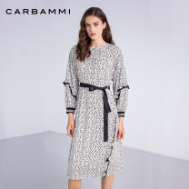 Dress Autumn of 2019 white S M L Mid length dress singleton  Long sleeves commute Crew neck High waist Leopard Print Socket Ruffle Skirt Lotus leaf sleeve 30-34 years old Carbammi / Cabernet Retro More than 95% polyester fiber Polyester 100%