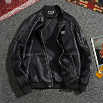leather clothing Huayi Street Youth fashion Black army green dark black Plush thickened version 165/M 170/L 175/XL 180/2XL 185/3XL 190/4XL routine Imitation leather clothes Baseball collar Slim fit zipper autumn leisure time youth PU tide HYJ-99885381 Rib hem Side seam pocket badge No iron treatment