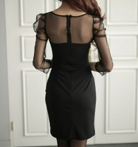 Dress Autumn of 2018 black L,XL,M Short skirt singleton  Long sleeves commute V-neck middle-waisted Solid color zipper Pencil skirt routine Ol style Splicing