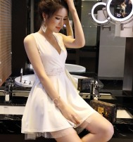 Dress Autumn of 2018 Black, white L,M,XL,S Short skirt singleton  commute V-neck middle-waisted Solid color Socket Princess Dress 25-29 years old Type A Korean version Backless, Gouhua, hollow out, gauze net, lace